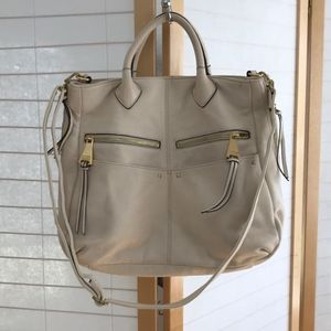 Aimee Kestenberg Large white leather tote w strap